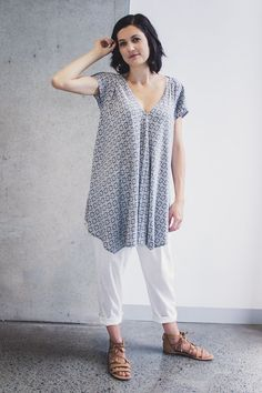 """DIY sewing patterns for Koi Drape Front Top is available on """"Hana Patterns"""" now! For step-by-step instructions with photos for this Koi Drape Front Top pattern, click on the pin."""