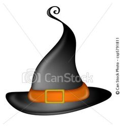 Stock Illustration - Halloween Witches Hat - stock illustration, royalty free illustrations, stock clip art icon, stock clipart icons, logo, line art, pictures, graphic, graphics, drawing, drawings, artwork