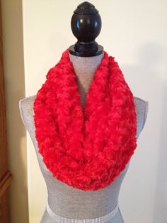 Luxury Plush Infinity Scarf in Rose Red: $20.00   This scarf is made from a soft plush fabric that layers beautifully and feels gentle against the skin. It is also slightly longer than our regular infinity scarves.  This scarf can also make an awesome Valentines Day gift! Valentine Day Gifts, Valentines, Red Roses, Infinity, Layers, Feels, Scarves, Plush, Luxury