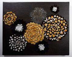 « Poésie hivernale »  -> Plumes naturelles encollées, faisan, pintade et acrylique sur toile. 41cm x 33 cm