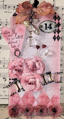 Pink - Another tag on a musical score that could be quilled. Just substitute some of the elements for quilled shapes!