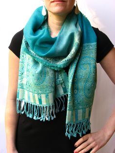 turquoise paisley print scarf