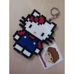 Hello Kitty keychain perler beads by clementinainventa
