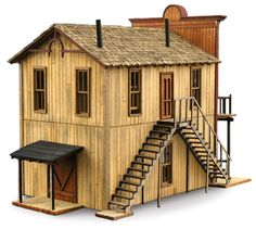 the quality of the details are what really set all Wild West Models apart. the decorative eaves, the staircase in the centre of the building and most subtle of all the double doors at the back to allow large items to be brought in and out.