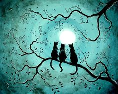 Halloween Painting - Three Black Cats Under A Full Moon Silhouette by Laura Iverson Moon Silhouette, Silhouette Painting, Halloween Painting, Halloween Drawings, Halloween Halloween, Moon Painting, Black Painting, Ouvrages D'art, Cat Drawing