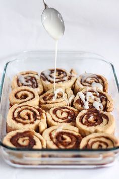 No one can guess that these cinnamon rolls are dairy free AND gluten free! Such a great treat to bake someone with a food allergy or to serve at a party! (Vegan Gluten Free Cinnamon Rolls)