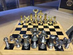 Guy made this chess set from fasteners. Diy Chess Set, Chess Sets, Chess Moves, Chess Players, Chess Pieces, Free Time, Fasteners, Metal Art, Metal Working