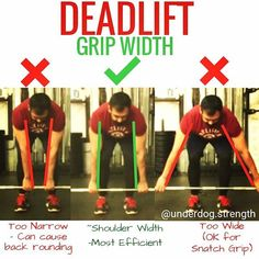 One of the questions I get asked often in my coaching is how wide should you grip the barbell on the deadlift. - For the most efficient position your arms should hang straight down from your shoulders. This way youre pulling from the shortest distance possible. - If you grip too narrow it will increase your range of motion cause back rounding and make it harder to balance. - If you grip to wide it will increase your range of motion. An exception to this is if youre intentionally doing a…