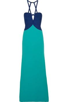 Hervé Léger - Cutout Two-tone Bandage-paneled Crepe Gown - Bright blue - small