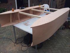 Outer sponson sides mounted. #catamaran #fishing #boat #wood #diy