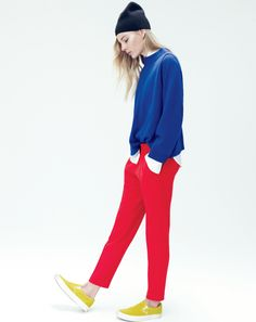 J.Crew women's Collection dolman cashmere, slouchy pant, ribbed cashmere hat, and Vans classic slip-on sneakers in suede.
