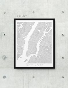 New York City Urban Map Poster.  New York City Street by lanakat