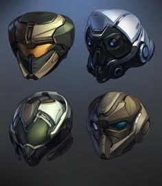 HELMETS, DIMA TCHI on ArtStation at https://www.artstation.com/artwork/N2vy1