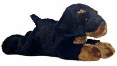 """12"""" Aurora Plush Puppy Dog Black Rottweiler Ruby Flopsie Stuffed Animal Toy NEW #Aurora"""