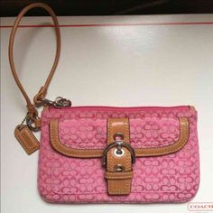 """NWOT Authentic Coach Pink wristlet bag  New with out tags, Beautiful and authentic Coach wristlet, pink signature C fabric, genuine tan leather strap, khaki inside, silver metals, a button pocket outside. Perfect condition, never worn, clean, New ;-) 5"""" X 8"""" wristlet bag.  -No trades. -No holds. -No more discounts for this bag, It is not easy to find good prices for reselling, do not ask for lower prices Please.  Click the listings to see the boutique.   Thanks for your visit ;-) Coach Bags…"""