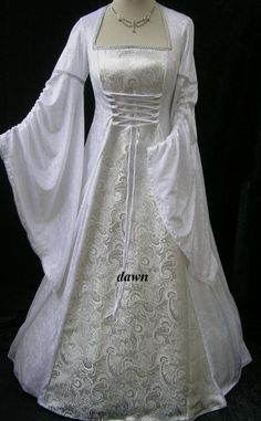Renaissance Style Wedding Dresses | White and Silver Medieval Wedding Dress, Dawns Medieval Dresses