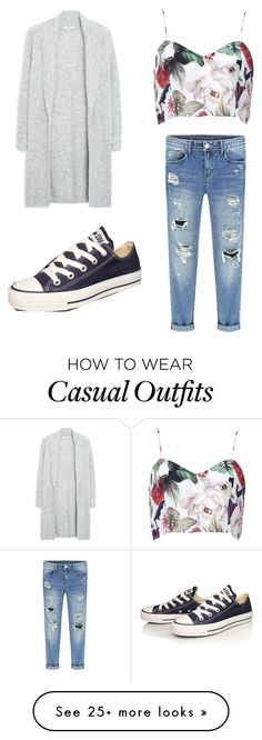 """""""Casual floral"""" by ellieteter on Polyvore featuring MANGO and Converse"""