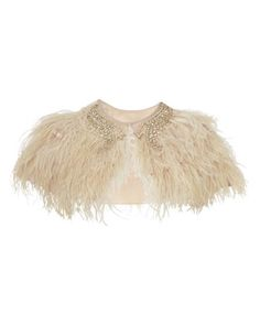 Feathered Cape A luxurious feathered cape with shimmering bead detail at the neck and a hook and eye fastening.