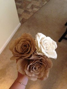Shabby Chic Burlap Wedding Bouquet | used at our #DIY Rustic/Barn Wedding OR could be a cute Autumn dinner table centerpiece