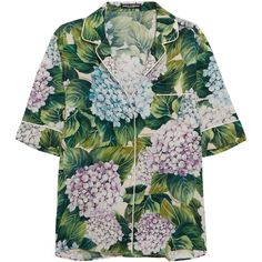 Dolce & Gabbana Floral-print silk-blend charmeuse shirt ($1,115) ❤ liked on Polyvore featuring tops, shirts, dolce & gabbana, dolce gabbana shirt, multicolor shirt, floral shirts, green shirt and green floral top