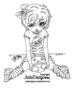 Gothic Doll - Lineart by *JadeDragonne on deviantART