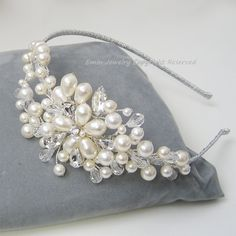 Luxury Bridal Silver Headband - Swarovski Ivory Pearls Rhinestone Crystal Flower Vines HB02