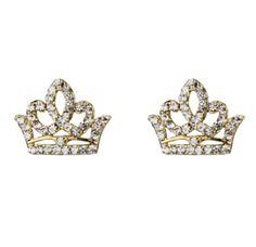 Brinco dourado coroa rainha strass R$15,00