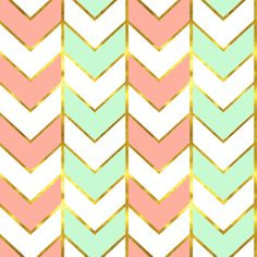 Changing Pad Cover Coral/Mint/Gold/White Chevron Herringbone