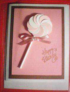 Birthday Card children or adult lollipop card pink by Babybyjen, $4.96