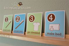Free printable morning routine note cards. #printable #schedule