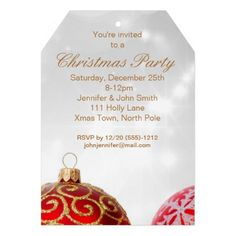 Red White Elegant Christmas Ornament Party Tag