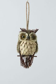 Sprig & Spruce Owl--could I make this out of a pine cone? Pinecone Owls, Pinecone Ornaments, Owl Ornament, Diy Owl Decorations, Pine Cone Decorations, Christmas Owls, Christmas Crafts, Christmas Ornaments, 3d Quilling