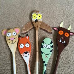the gruffalo wooden spoons Gruffalo Activities, Gruffalo Party, The Gruffalo, Craft Activities, Diy Crafts For Kids, Arts And Crafts, Craft Ideas, First Birthday Party Favor, 4th Birthday