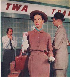 Vintage travel poster or ad for Belgium 1955 TWA. Photo by Sally Edelstein A waterfall in Romania Ireland Vintage Fashion 1950s, Retro Fashion, Vintage Style, Women's Fashion, Vintage Glam, Fashion History, Victorian Fashion, Fashion Tips, Air Travel
