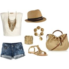 Summer ♥ this is so cute...love the hat and bag