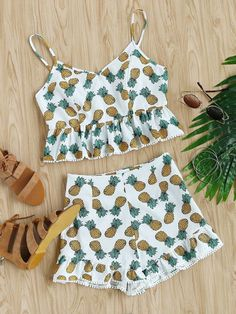 Dot Crochet Trim Pineapple Peplum Cami And Shorts Set Girls Fashion Clothes, Summer Fashion Outfits, Casual Summer Outfits, Outfits For Teens, Girl Fashion, Girl Outfits, Pajama Outfits, Crop Top Outfits, Cute Comfy Outfits
