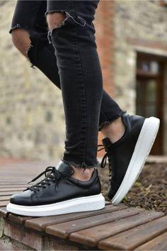 Sneakers Mode, Black Sneakers, Casual Sneakers, Leather Sneakers, Sneakers Fashion, Black Shoes, Mens White Casual Shoes, Boy Shoes, Men's Shoes