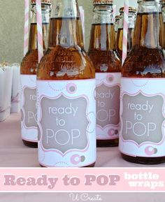 "Ready to ""POP"" baby shower bottle wraps - free printables"