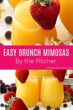 Mimosa Recipe Discover Brunch Mimosa By The Pitcher Brunch Drinks, Champagne Brunch, Easy Cocktails, Yummy Drinks, Cocktail Recipes, Brunch Menu, Breakfast Alcoholic Drinks, Brunch Punch, Brunch Table