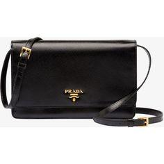 PRADA Small Bag ($1,190) ❤ liked on Polyvore featuring bags, handbags, purses, bolsas, clutches, black, women, black purse, logo handbags and black patent leather handbag