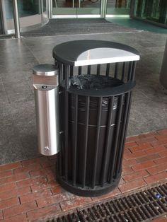 public trash bin with cigarette bin