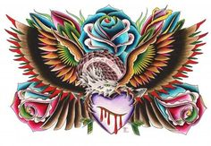 Roses Eagle and Heart by English Traditional Tattoo Canvas Art Print