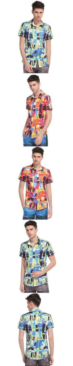 New fashion foreign trade 3D Abstract printing men's new Hawaii style casual short sleeved beach shirt high quality