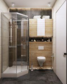 Super Tiny Apartment Design Ideas With A Great Layout Bathroom Design Luxury, Modern Bathroom Design, Bathroom Wall Decor, Small Bathroom, Small Room Design, Beautiful Bathrooms, Apartment Design, Bathroom Inspiration, House Design