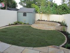 City Gardening New layout showing two circles before shed screened by landscaping to avoid becoming inadvertent focal point. Backyard Ideas For Small Yards, Small Backyard Design, Backyard Garden Design, Small Garden With Shed, Landscaping Around Trees, Front Yard Landscaping, Landscaping Ideas, Garden Design Plans, Garden Makeover