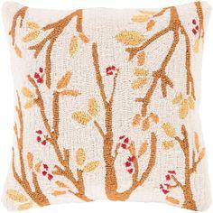 Decor 140 Holiday Hooked Throw Pillow Cover - 18'' x 18'', Beig/Green (Beig/Khaki)