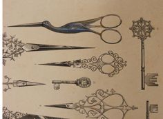 victorian print advertising scissors and keys from london