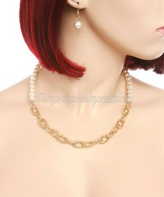 GOLD CHAIN LINK SILVER CHAIN LINK PEARL NECKLACE EARRING SET FASHION JEWELRY #Marysol #Chain