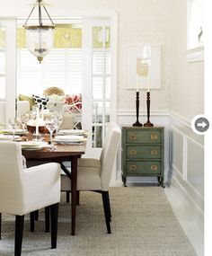 All my favorite colors, in more muted tones. Alas, a gal with two baby boys will never have white upholstery.
