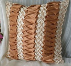 Silk Smocked Pillow Brown Cushion Cover, Striped Pillow, Smocked Cushion, Brown Pillow, Room decor i Fabric Manipulation Techniques, Textiles Techniques, Smocking Tutorial, Smocking Patterns, Cute Pillows, Kids Pillows, Brown Cushion Covers, Pillow Drawing, Canadian Smocking